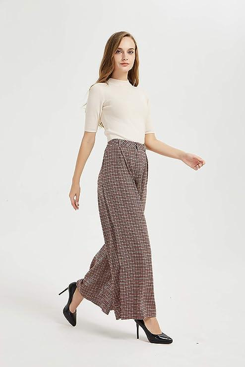 60s Pants, Jeans, Hippie, Flares, Jumpsuits Tronjori Women High Waist Casual Wide Leg Long Palazzo Pants Trousers Regular Size  AT vintagedancer.com