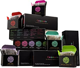 Ceremonie Premium Tea Gift Box - 30 Count - 5 Individually Wrapped Mesh Bags of 5 Rich Flavors of Herbal Teas and Tea Blends Per Pack (6 Pack) - The Winter Collection Variety Sampler Pack