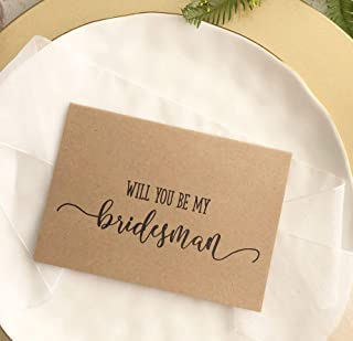 Will You Be My Bridesman Wedding Proposal Card Rustic Bridal Party Gift