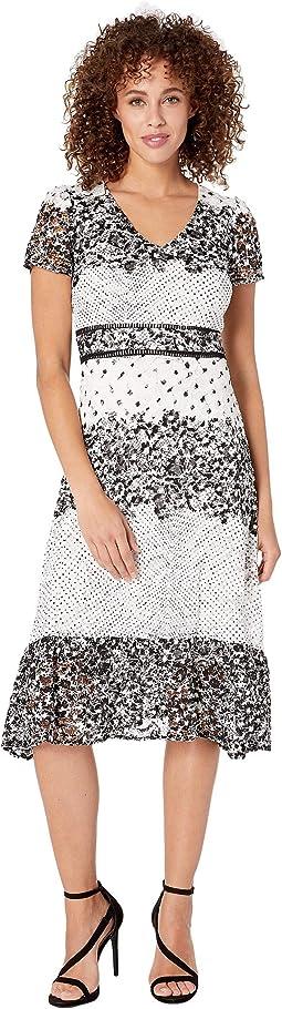 Short Sleeve Mixed Print Lace Midi Dress