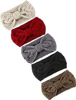 Cooraby Knitted Hairband Crochet Twist Ear Warmer Winter Braided Head Wraps for Women Girls