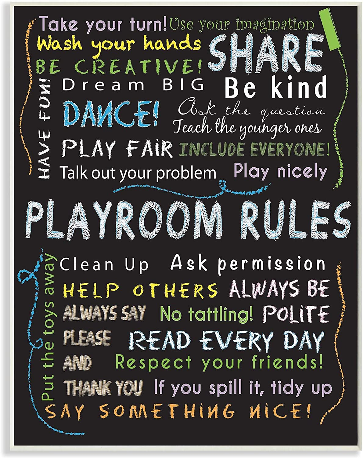 Stupell Industries Playroom Rules Multi color Chalk Wall Plaque Art (brp1790_wd_10x15)