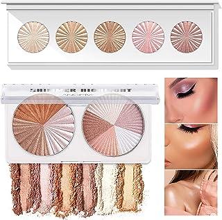 Shimmer Highlighter Powder Palette,Face Makeup Glow Bronzer Illuminator Powder Palette Baked Waterproof Long Lasting Brill...