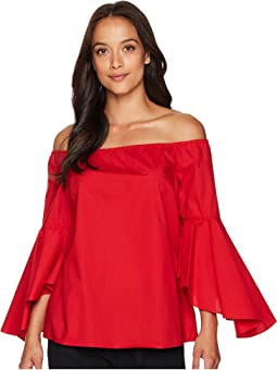 Off the Shoulder Blouse with Tulip Bell Sleeve