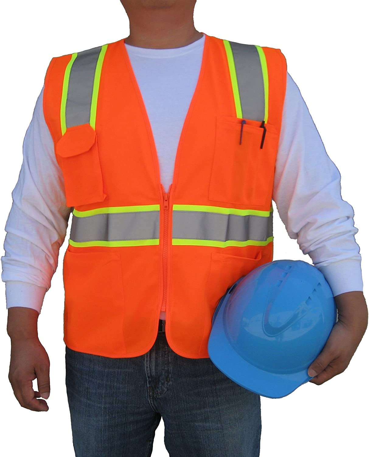 3C Products SV2400, ANSI/ISEA Class 2, Safety Tricot/Mesh Vest, Reflective w/Yellow Binding, Zipper, Pockets, Neon Orange