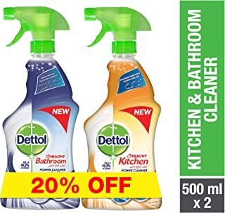 Dettol Orange Healthy Kitchen Power Cleaner Trigger Spray 500ml + Dettol Healthy Bathroom Power Cleaner Trigger 500ml