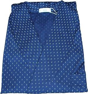 GERMINI Elegante Vestaglia Uomo in Microfantasia con Collo Sciallato in Tessuto di Puro Cotone Blu' B&B Art. ALGHERO Mis. ...