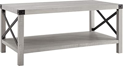 Walker Edison Sedalia Modern Farmhouse Metal X Coffee Table, 40 Inch, Stone Grey