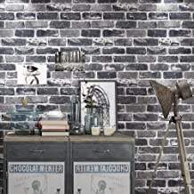 Okydoky Vinyl Waterproof Vintage Grey Brick Wallpaper, Livingroom Bedroom Kitchen Background No.57101