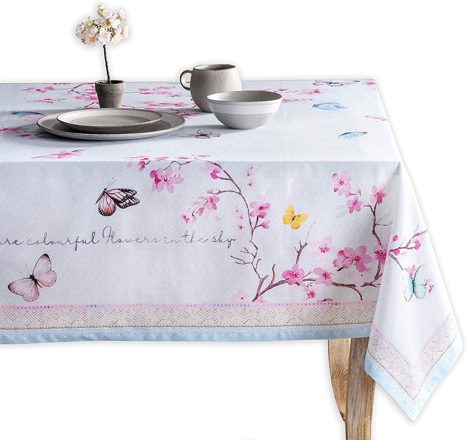 Maison d' Hermine Blossom in Spring 100% Cotton Tablecloth 60 Inch by 108 Inch