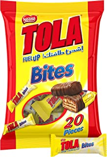 Nestle Tola Milk Chocolate and Caramel Wafer Bites, 160g Pouch, Yellow
