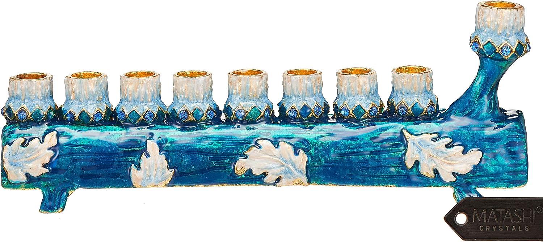 Matashi MTMNR13543 Hand Painted Blue and Ivory Menorah Candelabra, Tree Log