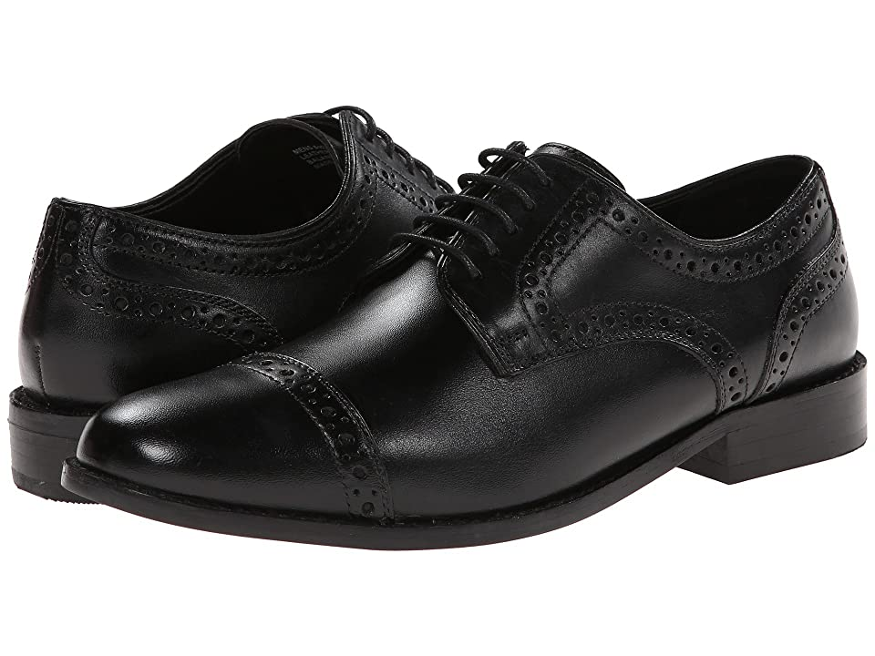 1920s Style Mens Shoes | Peaky Blinders Boots Nunn Bush Norcross Cap Toe Dress Casual Oxford Black Mens Lace Up Cap Toe Shoes $85.00 AT vintagedancer.com