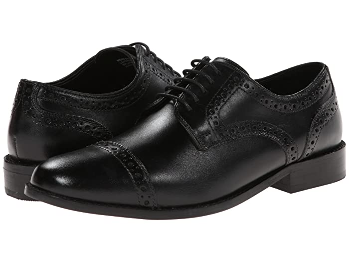1920s Boardwalk Empire Shoes Nunn Bush Norcross Cap Toe Dress Casual Oxford Black Mens Lace Up Cap Toe Shoes $69.95 AT vintagedancer.com
