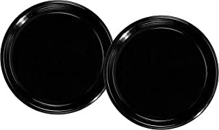 Party Essentials Soft Plastic 16-Inch Round Flat Catering Trays, Black, 2-Pack