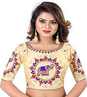 Women's Banglori Silk Choli Stiched readymade free size Saree Sari Blouse Gold