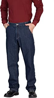 BOCOMAL Men's FR Jeans Big&Tall Size Flame Resistant Pants Low Rise 11.5oz Blue Denim Fire Retardant Jeans