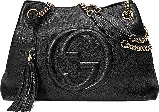 Soho Medium Black Double Leather Chain Shoulder Bag Tote Black Gold New