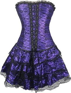 95b08518e3b8b TOPMELON Womens Sexy Gothic Lace up Corset Bustier Dress Short Skirt