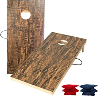 TIANNBU Wood Cornhole Game Set Bean Bags Toss Game, Regulation 4×2 Feet Cornhole Board with 8 Bean Bags All Weather Portable for Indoor Outdoor Tailgate Camping