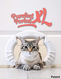 Purrfect Portal XL Pet Cat Door for Interior Doors :: Molded Plastic Kitty Cat Pass for Large Cats up to 30 Lbs :: Install...