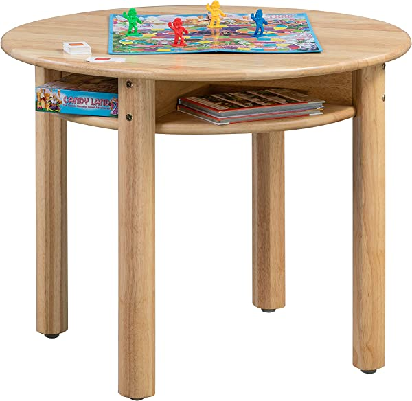 ECR4Kids Stowaway 桌子实木圆形儿童桌内置存储自然