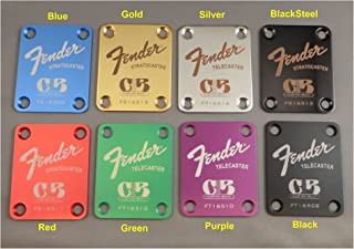 Fender Guitar Neck Plate with Custom Built logo - Choose from 8 colors with custom engraving