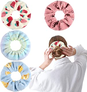 4 Pieces Large Drying Scrunchies Microfiber Towel Hair Scrunchies Thick Soft Fruits Hair Scrunchies Fuzzy Scrunchy Ponytail Holder for Hair Light Ropes Women Girls Wet and Dry Hair Accessories