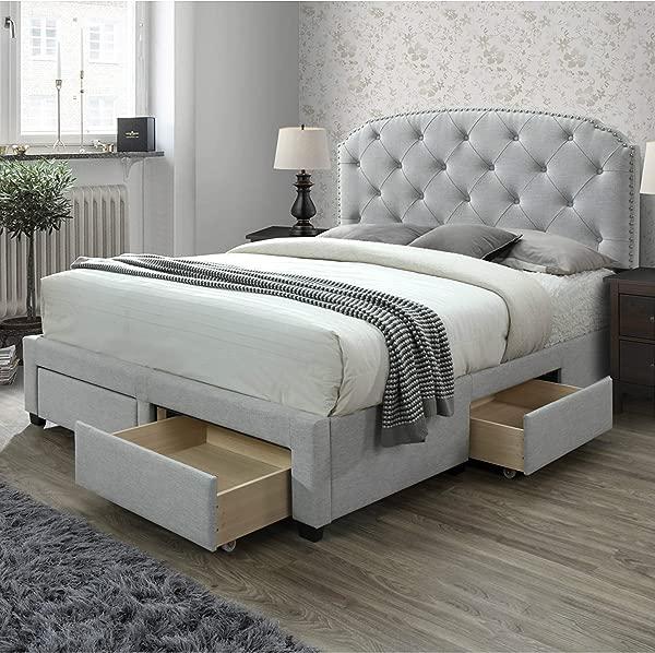 DG Casa 12350 Q PLT Argo Tufted Upholstered Panel Storage Bed Queen In Platinum Fabric
