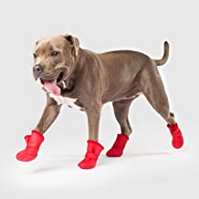 Canada Pooch | Lined Wellies Waterproof Dog Boots | All-Season Silicone Paw Protection | Red, Size 3XL