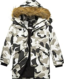 Boy's Long Winter Coat Thicken Quilted Parka Faux-Fur Trim Hooded Jacket