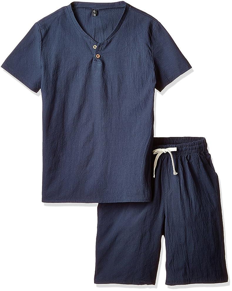 小競り合いミッション免除[アルファーフープ] メンズ Tシャツ 半袖 トップス ハーフ ショート パンツ 上下 セット アップ 無地 柄 部屋着 PP-3