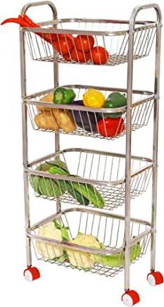 Parasnath Mirror Finish 4 Shelf Square Vegetable and Fruit Trolley, 4 Stand- 36 inch Made in India Lifetime Warranty