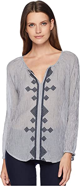 Embroidered Indigo Stripe Long Sleeve Top