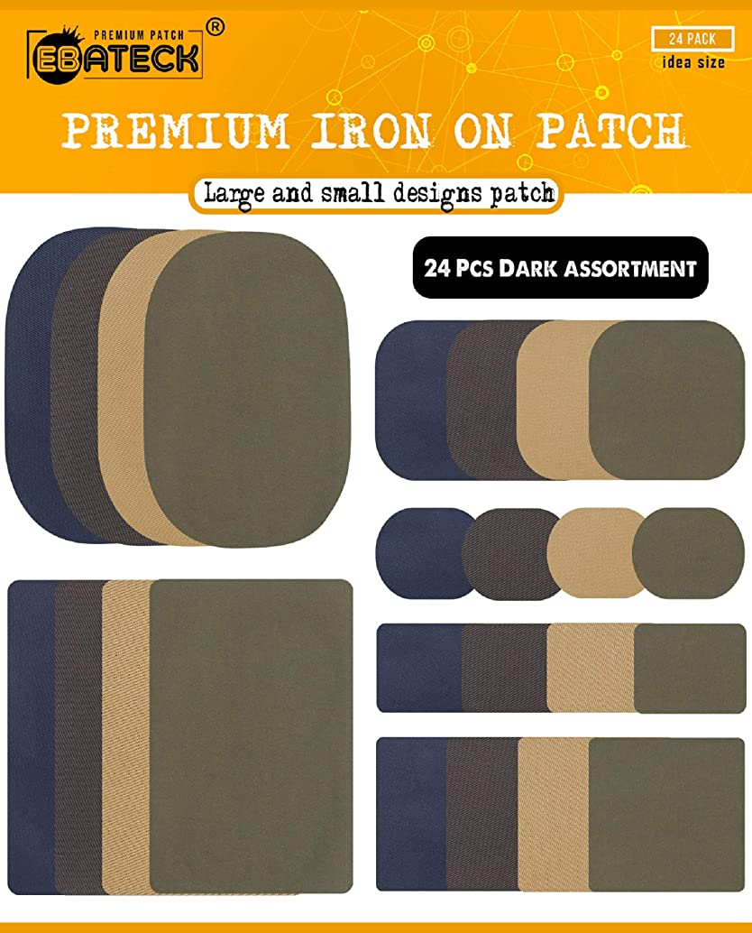 Iron On Patches for Clothing - Denim Fabric Repair Patch kit for Clothes Pants Jeans - Small and Large Size for Men, Woman, Kids - Super Strong (Upgrade Adhesive 0.12) with 24 Pack Dark Colors