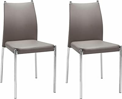 Set Of 2 Dining Chairs Kitchen Dining Room Furniture Modern Design - Faux Leather, Metal Frame Legs (Cappucino)