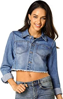Allegra K Women's Jean Jacket Frayed Button Up Washed Cropped Denim Jacket