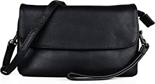 Befen Full Grain Leather Wristlet Clutch Wallet Phone Crossbody Wallet Purse with Detachable Shoulder Strap