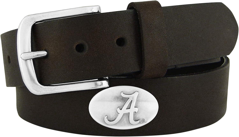NCAA Alabama Crimson Tide Brown Concho Belt Leather 4 years warranty Max 53% OFF 32