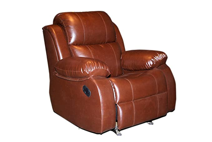 Innovate Recliner   Sofa Recliners India Style 205 Wood and Leatherette Rocking   Rotating Recliner Chair  Brown  Recliners