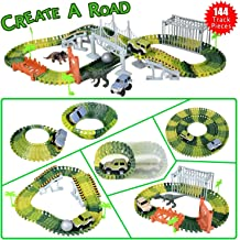 Hometall Dinosaur Track Toy Set with 144 Pieces, Dinosaur Train Track for Kids Toddlers, Jurassic World Toys Set for Festival Birthday Gift, Safe Durable STEM Play Set for Boys Girls