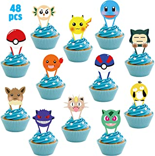 MALLMALL6 48Pcs Pikachu Cupcake Toppers Birthday Party Supplies Cakes Decoration Set Anime Cartoon Trainers Themed Dessert Decorations Video Game Inspired Party Favors for Kids Boys Girls