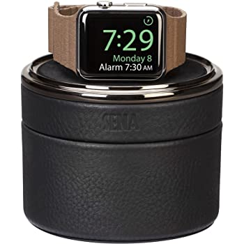 Sena Leather Watch Travel Charging Case for Apple Watch - Hold 38mm/40mm/42mm/44mm, Black