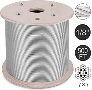 T316 Stainless Steel Cable 1/8Inch 7x7 Steel Wire Rope Cable 500ft Cable Railing for Railing Decking DIY Balustrade (500ft)