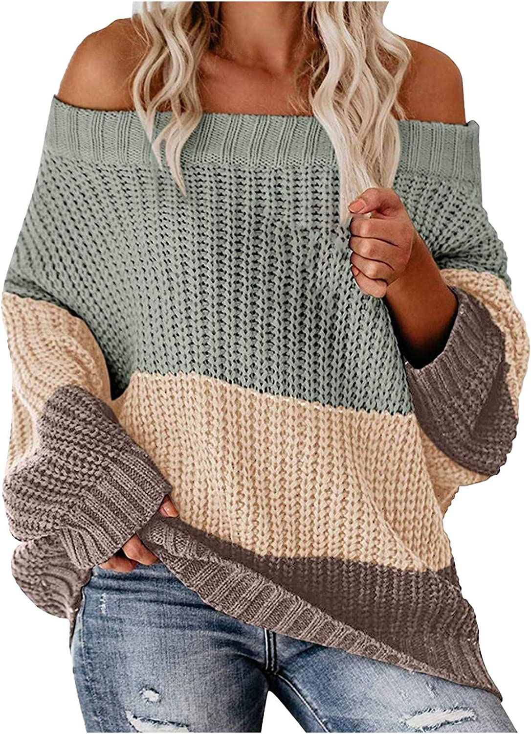 Women's Off Cold Shoulder Sweater Long Sleeve Shirt Color Block Plus Size Tops Fall Loose Knitting Pullover