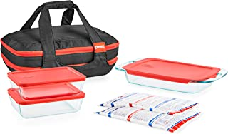 Pyrex Portables Glass Food Bakeware and Storage Containers (9-Piece Set, Insulated Carrier, BPA Free Lids)