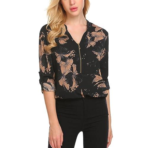 179c8bfa804ed SE MIU Women Casual Long Sleeve Floral Chiffon Zip Up V Neck Blouse Top