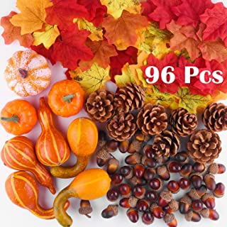 FFEPITO 96 Pcs Fall Thanksgiving Decorations, Mini Artificial Pumpkins, Pine Cones, Fall Leaves, Acorns for Fall Party Decorations, Autumn Decorating Kit Halloween Thanksgiving Party Supplies