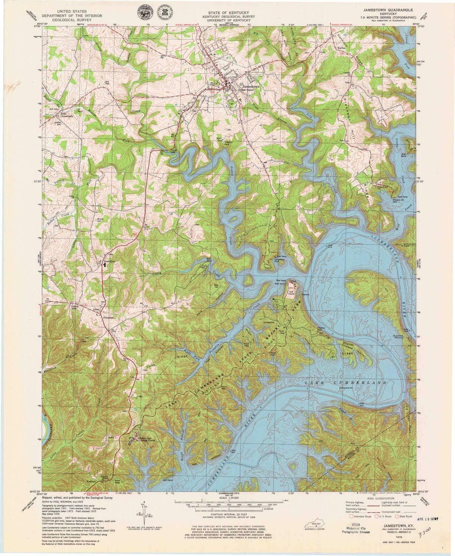 service YellowMaps Jamestown Product KY topo map Minut Scale X 7.5 1:24000