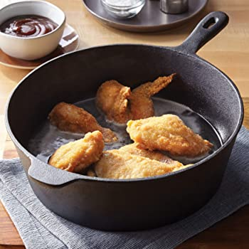 "BrylaneHome 12"" Cast Iron Chicken Fryer, Black"